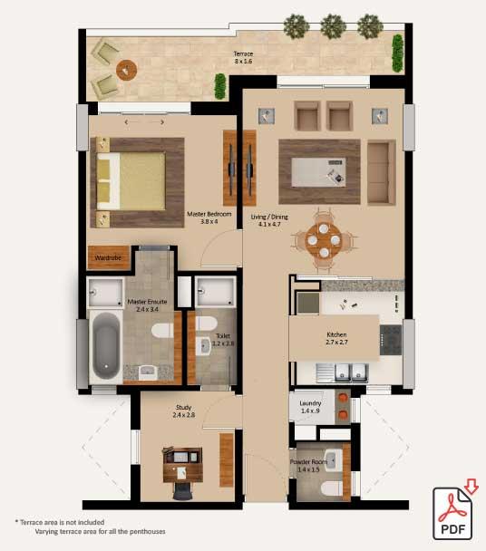 Layout-Type-1-Bedroom