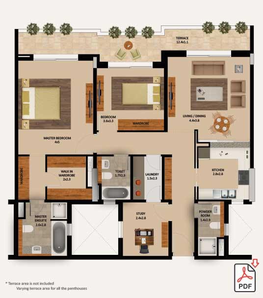 Layout-Type-2-Bedroom